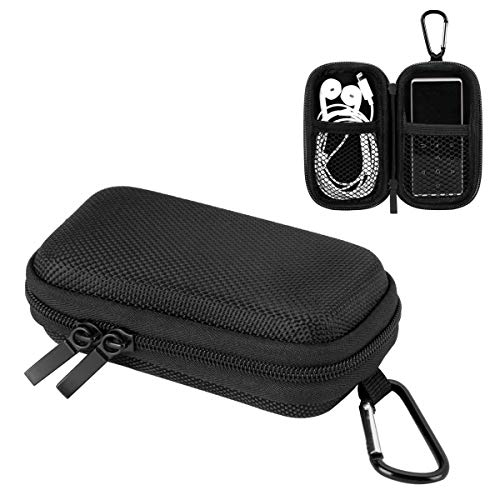 AGPTEK MP3 Player Case, Portable Music Player Case with Metal Carabiner Clip for 2.4 inch MP3 Players, iPod Nano, iPod Shuffle Black