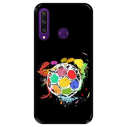 Funda Negra para [ Huawei Y6p ] diseño [ Balón de fútbol Abstracto, Multicolor ] Carcasa Silicona Flexible TPU