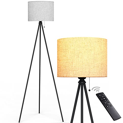 Tripod Floor Lamp, Remote Control Modern Tall Lamp, Mid Century lamp, Standing lamp for Living Room and Bedrooms, Living Room Light, Linen Lampshade, Dimmable Bulb are Included, Matt Black