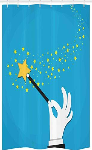 ABAKUHAUS Magie Douchegordijn, Magician Wand Spreading Stars, voor Douchecabine Stoffen Badkamer Decoratie Set met Ophangringen, 120 x 180 cm, Sky Blue Mosterd