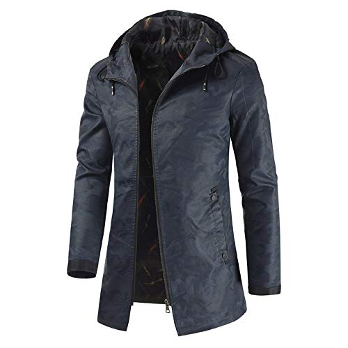 Yczx Men's Casual Faux Leather Long Jacket Hooded Long Leather Trench Coat Outdoor Motorcycle Long Leather Coat with Zippers Windproof Spring Autumn Winter Windbreaker Tops XL