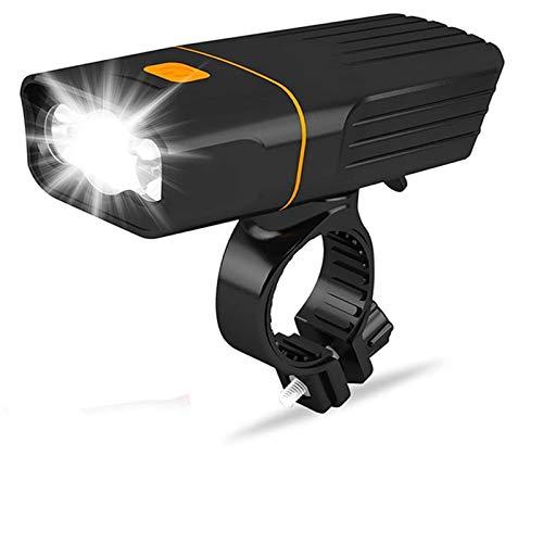 FDSJKD Luces de Bicicleta LED Faro y luz Trasera, Conjunto de luz de Bicicleta Recargable 2400 MAH, 800LM, IPX5 Impermeable, Luces de Bicicleta (Color : Black)