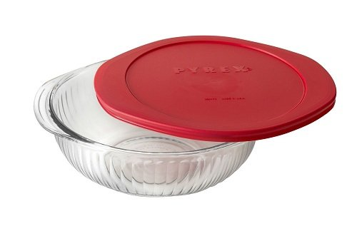 Corningware/Pyrex 4 Piece Bake and Serve Set 1-2 quart Scalloped bowl with red lid 1-2 quart Baking dish with red lid