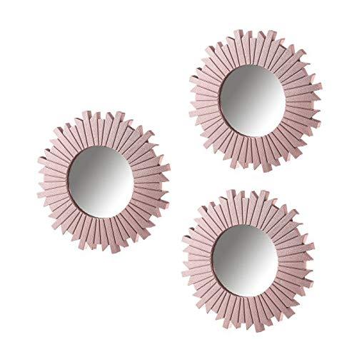 Espejos Pared Decorativos Rosa Pack 3 Uni Espejo Decorativo Pared Estilo Moderno Ideal para Decoracion Casa Baño Habitación y Salón - Color Rosa Juego Set (Rosa)