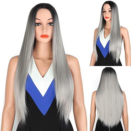 XIEWEICHAO Gris foncé perruque de cheveux longue ligne droite à haute température perruque de fibre synthétique (Color : Black Grey)