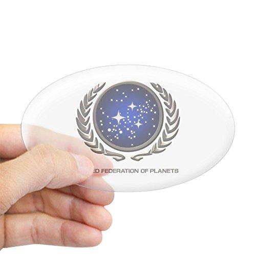 CafePress–Star Trek UFP Insignia Aufkleber (Oval)–Aufkleber (Oval), farblos, Large - 4.5x7.5