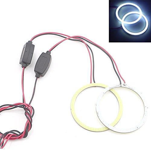 Qasim 2x COB LED Angel Eyes Halo Rings de Faros Delanteros de 80MM 63 SMD 12 V 24 V blanco no Polaridad Constante