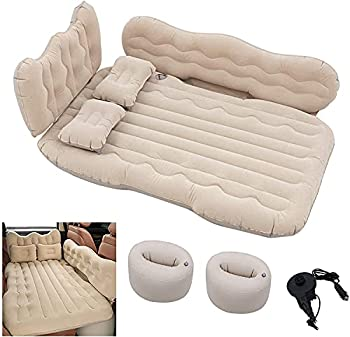 Conlia SUV Air Mattress Camping Bed Cushion Pillow-Thickened Double-Sided Flocking Air Mattress for SUV Camping Luxury Upgrade Side File with Air Pump Beige