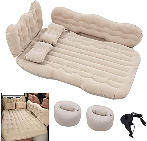 Conlia SUV Air Mattress Camping Bed Cushion Pillow-Thickened Double-Sided Flocking, Air Mattress for SUV Camping Luxury Upgrade Side File with Air Pump(Beige)
