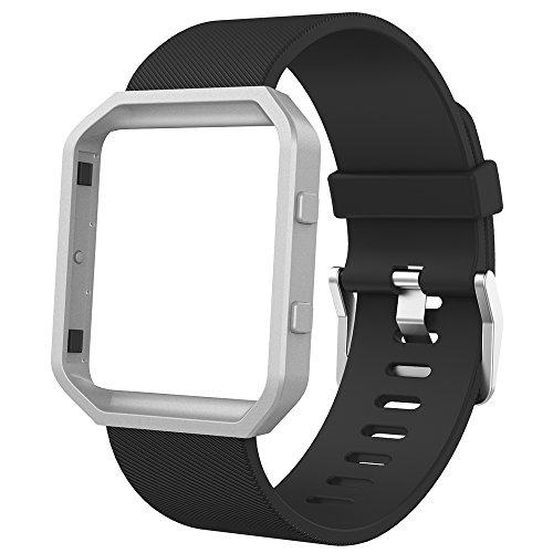 Anjoo New Kompatibel für Fit bit Blaze Armband mit Metallrahmen, Verstellbares Ersatz Soft Silikon Uhrenarmband fur Fit bit Blaze Smartwatch [Schwarz,L]