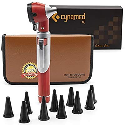 Cynamed Otoscope - Ear Scope with Light, Ear Infection Detector, Compact and Pocket Size (Red)