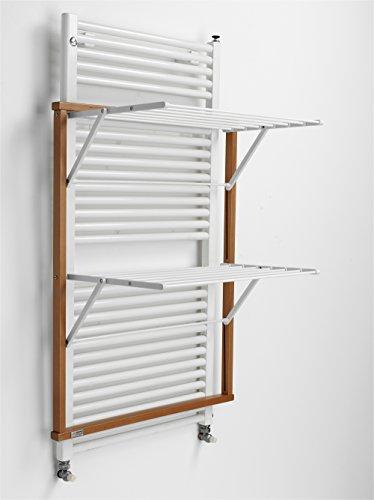 Arredamenti Italia - Tendedero para radiador KLAUS, madera plegable, color madera de cerezo
