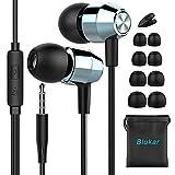 Écouteurs Intra-Auriculaires, Blukar Oreillettes Intra-Auriculaires Filaires avec Microphone Anti-Bruit, Deep Bass Casque Ergonomique pour iPhone, Smartphones Android et MP3 etc.