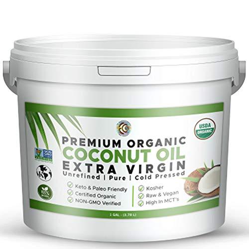 Premium Ultra Pure UNREFINED Organic Extra Virgin Coconut Oil - Cold Pressed, Gluten-Free, Keto & Paleo Friendly - Organic Pure Coconut Oil For Skin & Hair Care, Cooking, Baking and More - 1 Gallon
