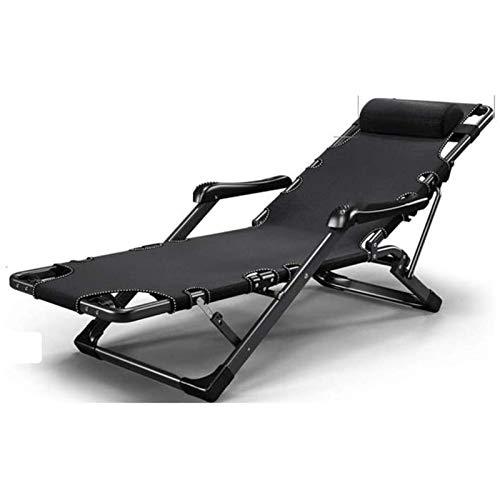 SHUILV Silla de Playa reclinable Plegable Inicio Oficina de Almuerzo Break Siesta Bed Balcony Ocio Trasero Sofá Perezoso Silla portátil (Color: Negro)