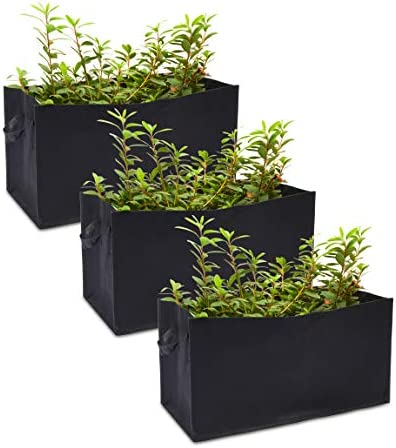 Rectangle Grow Bags with Handles for Vegetables Fabric Planter 23 6 x 11 8 in 3 Pack product image