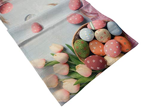 khevga Oster-Deko Tischläufer Oster Tisch-Deko Ostereier bunt Bedruckt 40 x 150 (Rosa, 1)