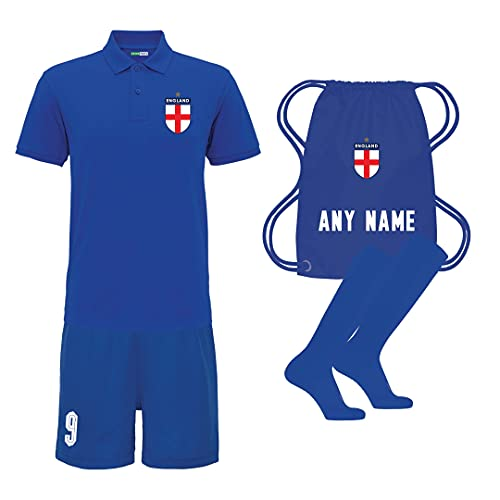 Sportees Retro Kids Personalised Polo Royal Blue England Style Away Football Kit With FREE Socks Bag Youth Football England Boys Or Girls Football Jersey Child Football Kit 911 Years