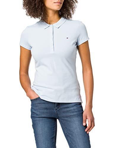 Tommy Hilfiger Damen Short Sleeve Slim Polo Polohemd, Breezy Blue, S
