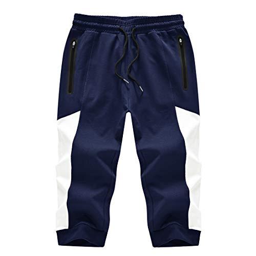 donhobo Pantalones cortos 3/4 para hombre, pantalones de chándal de algodón, pantalones capri, pantalones de verano, tiempo libre, con bolsillos con cremallera azul oscuro 38