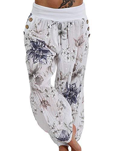 Europa y los Estados Unidos Sueltan Pantalones Anchos de Pierna Impresa Pantalones Casuales de Mujer Blanco XXL