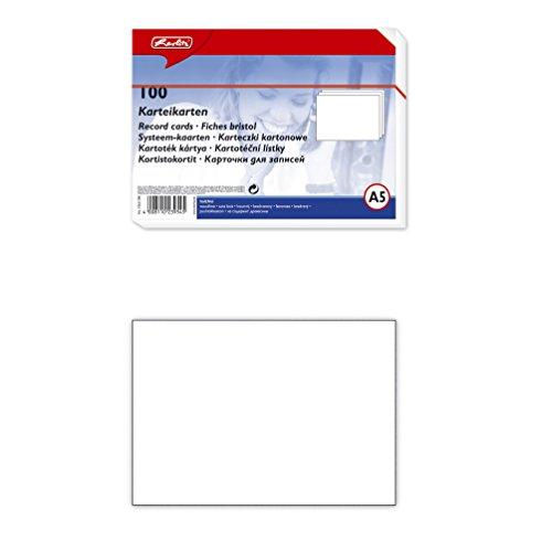 Herlitz-10621308- Karteikarten, DIN A5, blanko, Weiß VE=100