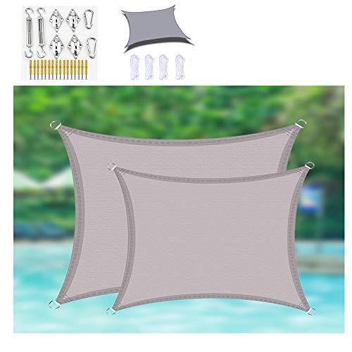 HOXMOMA Sun Shade Sail Rectangle with Hardware Kits, Waterproof Oxford Cloth UV Block Heavy Duty Awning Grey Canopy Sail Shade for Patio Garden Outdoor Backyard,5×7m/16.4'x23'