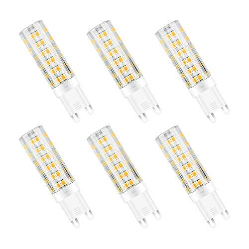 G9 Ledlamp, 7 W, vervangt 65 W halogeenlampen, warmwit, 3000 K, G9 LED keramische lamp 2835 SMD, AC 220-240 V, spaarlamp 7 W, LED-lamp 650 lumen, niet dimbaar, verpakking van 6