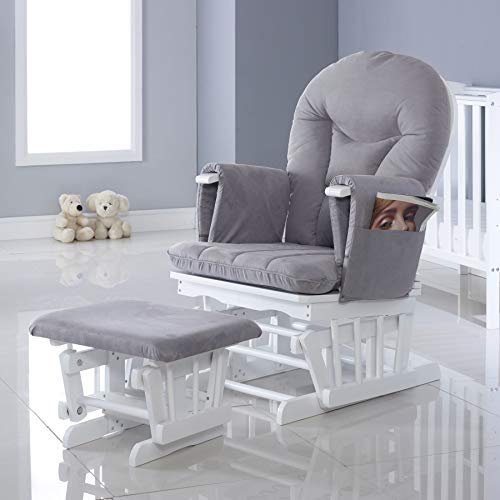 Babyhoot Alford Nursing Maternity Glider Chair with 7 Recline Positions and Stool - White Grey
