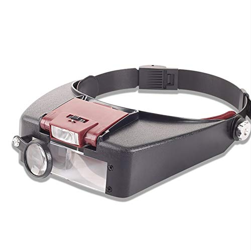 Lupe mit Kopfteil, 1,5 x 3 x 6,5 x 8 x Doppelaugen-Schmuck, LED-Licht, für Uhren-Reparaturen