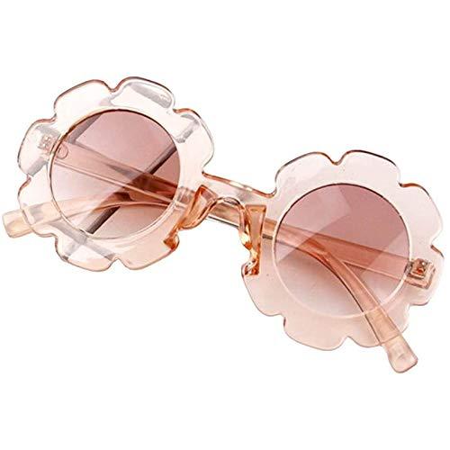 Muium(TM) Gafas de sol para niños, modernas y redondas, polarizadas, redondas, con borde de flores, protección UV400, para deportes al aire libre, para niñas y niños