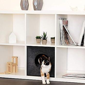 lionto by dibea Caverne chat pliable coussin Caverne chats pour étagères 33x37x33 cm Gris foncé
