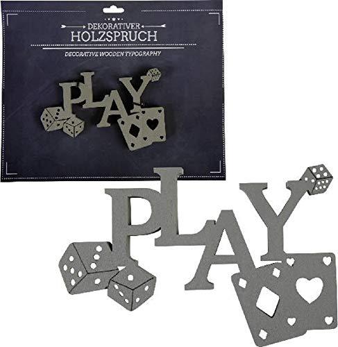 Home Collection Maison Décoration Accessoires Compléments Ameublement Plaques Lettres Objet Décoratif en Bois avec Écriture Play et Cartes de Poker 12 x 17,5 x 0,9 cm