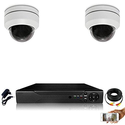 Kit Videosorveglianza 2Telecamere Dome motorizzate PTZ zoom X3–2000GB, 1cavo di 40m + 1x 20m, senza schermo