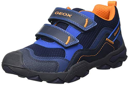 Geox J BULLER Boy A, Basket, Bleu Orange, 31 EU