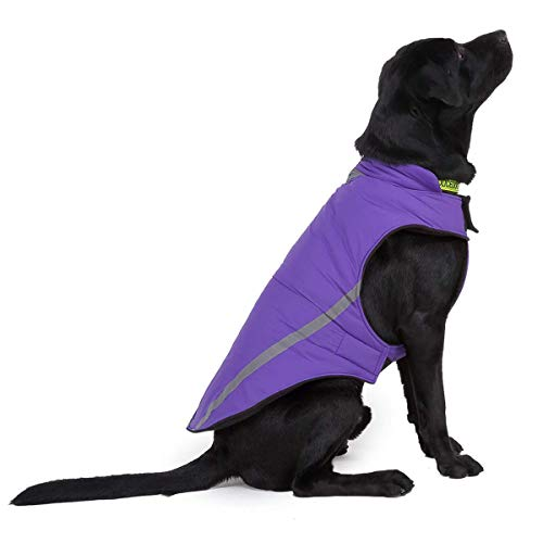 Dociote Winter Hundejacke mit Fleece Gepolstert - reflektierend, warm, Winddicht Hundemantel Weste mit Klettverschluss Bauchschutz für Mittler & Große Hunde XL Lila