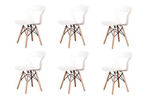 WV LeisureMaster Nordic sedia moderna per il tempo libero e traspirante schienale 4/6 (Bianco, 6)