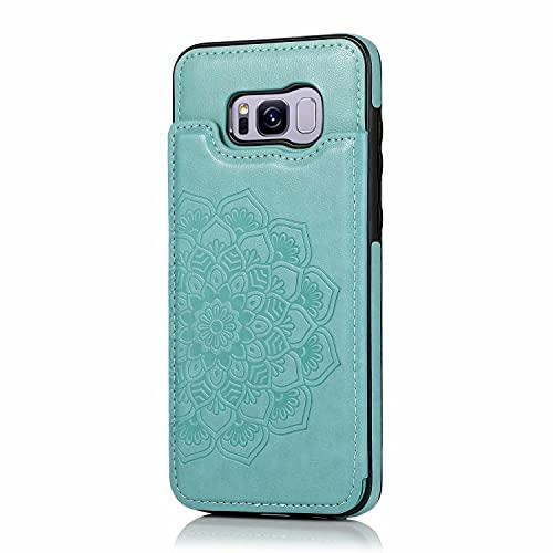 Lijc Compatible con Funda Samsung Galaxy S7 Edge Botón Doble Mandala En Relieve PU Cuero Tarjeta Bolsillos [Ranura para Tarjetas] [Soporte Plegable] Antigolpes Flip Caso-Verde