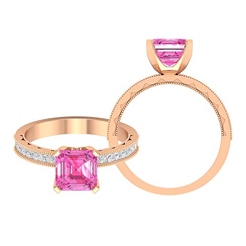 5 MM Asscher Cut Lab Created Pink Sapphire Solitaire Ring, D-VSSI Moissanite Princess Cut Ring, Milgrain Ring (AAAA Quality), 18K Rose Gold, Size:UK K
