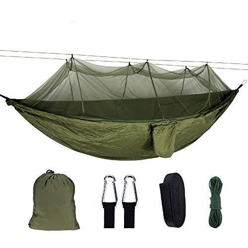 Hamac d'extérieur Multiples 260 x 140 cm, Capacité de Charge jusqu'à 300 kg Portable avec Sac de Transport pour Patio Yard Garden Apportez Une moustiquaire