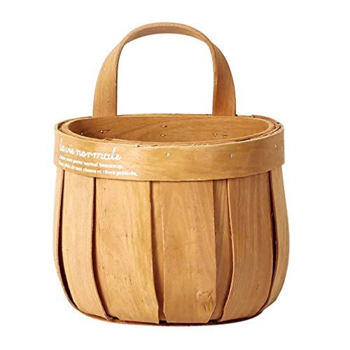 Cabilock Cesta de picnic de madera natural, cesta de frutas y verduras, cesta de almacenamiento vintage para interiores y exteriores,...