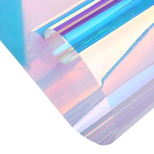 Chamäleon-Fensterfolie, 45 x 200 cm, Regenbogen-Effekt, schillernd, klare Folie, holografische Vinylfolie, selbstklebende Solarfolie für Wohnglas-Dekoration