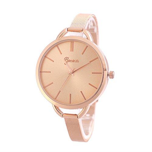 De lujo de las mujeres de la señora de ginebra XLORDX oro Color de rosa de malla de acero inoxidable reloj de cuarzo reloj de pulsera