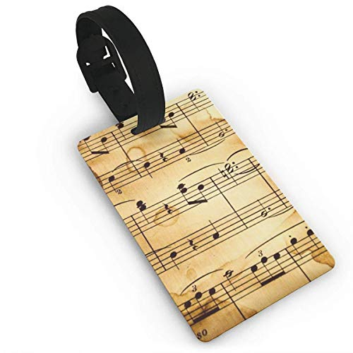 WERERT Luggage Tag Music Notes Business ID Card Holder with Adjustable Strap for Travel BaggageTags Baggage Bag/Suitcases Business Card Holder Name ID Labels 3.7X2.2in