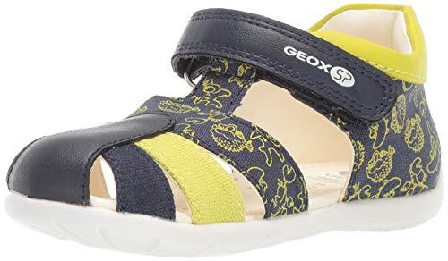 Geox Kinder Sandalen B ELTHAN Baby und Kleinkinder Sandalette mit Klettverschluss Meerestiere Blau (Navy/Lime) Größe 19 EU