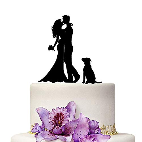 YAMI COCU Wedding Cake Topper Bride and Groom   Mr & Mrs Cake Toppers With Dog Wedding Aniversary Party Engagement