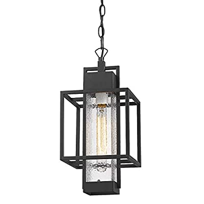 """Osimir Outdoor Pendant Light Fixture, 1 Light Exterior Hanging Lantern Porch Light, 14"""" Outside Lighting for House in Black Finish with Bubble Glass Lamp Shade 2375/1HL"""