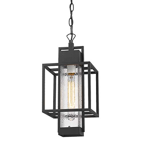 "Osimir Outdoor Pendant Light Fixture, 1 Light Exterior Hanging Lantern Porch Light, 14"" Outside Lighting for House in Black Finish with Bubble Glass Lamp Shade 2375/1HL"