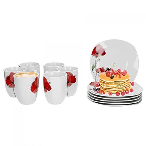 Van Well 12tlg. Frühstück-Set Monika für 6 Personen | 6 Kaffeebecher + 6 kleine Teller | Mohn-Blume | edles Porzellan-Geschirrset | Gastronomie