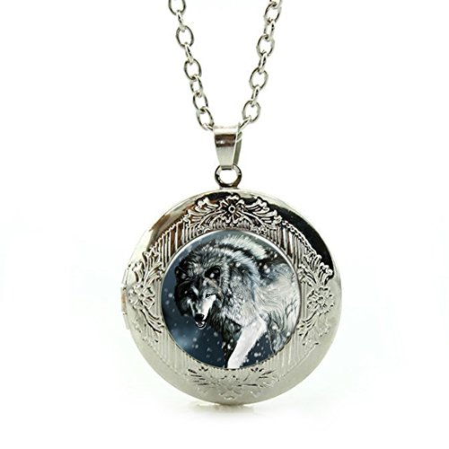 Women's Custom Locket Closure Pendant Necklace Snow Wolf Included Free Silver Chain, Best Gift Set